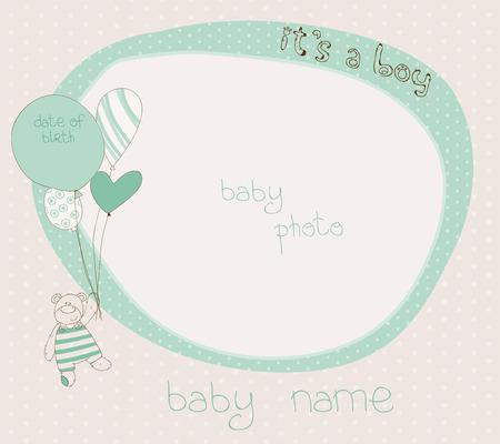 Baby Boy Arrival Card with PhotoFrame Vector