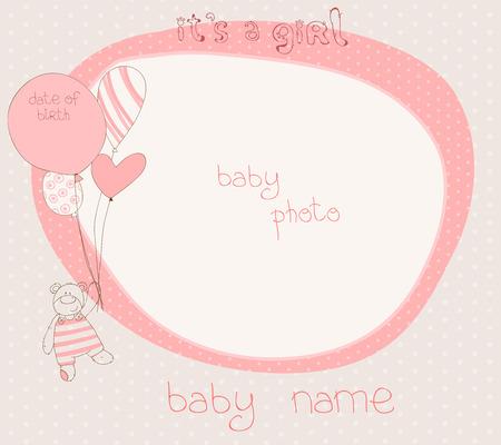 Baby Girl Arrival Card with PhotoFrame Stock Vector - 9044291