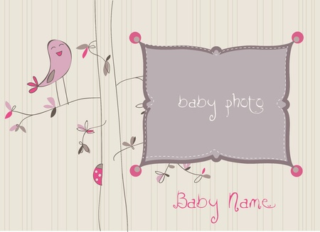 Baby Arrival Card with Photo Frame in vector Stock Vector - 9141369