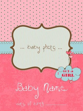Baby Arrival Card with Photo Frame in vector Stock Vector - 9141408