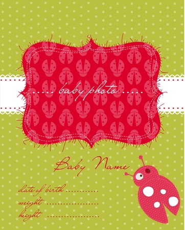 Baby Arrival Card with Photo Frame in vector Stock Vector - 9141382