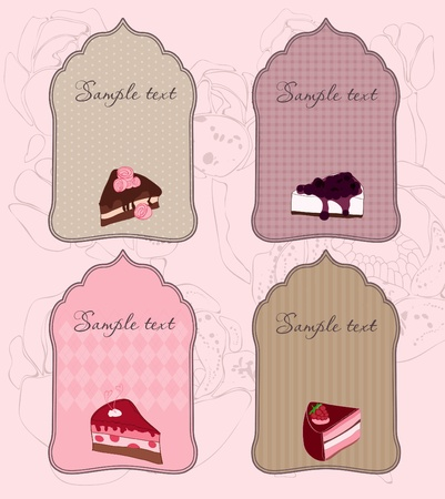 Set of Cute Cake Tags for design in vector Stock Vector - 9141410