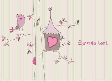 Card with Bird House in vector Vector