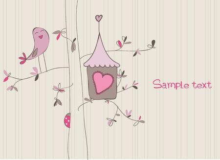 Tarjeta con casa de aves en el vector