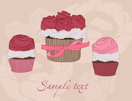 pink cake: Beautiful Cupcake card in vector Illustration