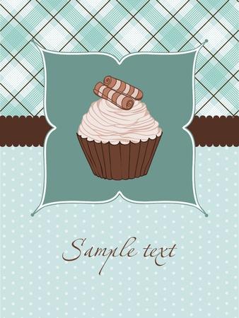 Beautiful Cupcake Card in vector Vector