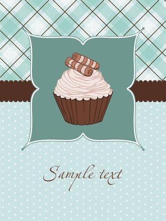 the brown: Beautiful Cupcake Card in vector Illustration