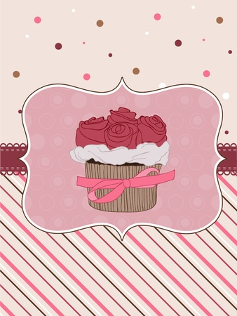 Beautiful Cupcake Card in vector Vector