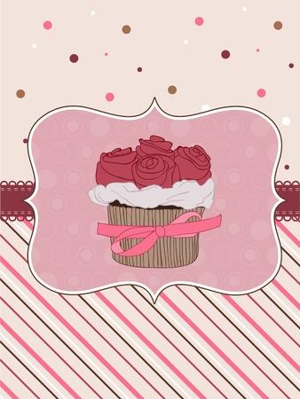 dates fruit: Hermosa tarjeta Cupcake en vector