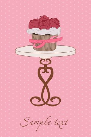 dates fruit: Invitaci�n de boda con Cupcake en vector
