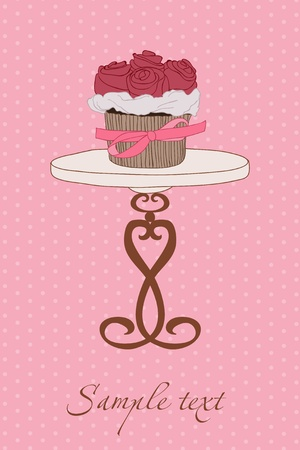Wedding Invitation with Cupcake in vector Vector