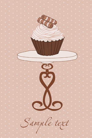 Wedding Invitation with Cupcake in vector Stock Vector - 9141375