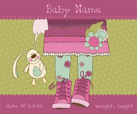 Baby girl arrival announcement card with plush rabbit  Vector