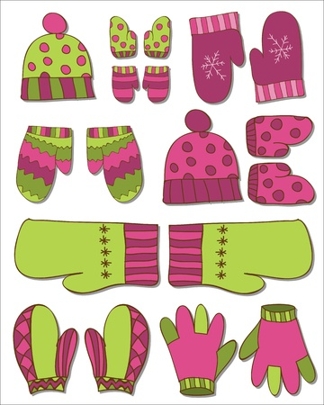 winter clothes: Set of Gloves and Mittens for Winter Design in vector