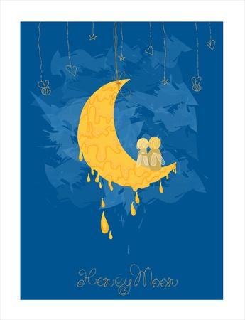 honeymoon: Cute Honeymoon Postcard in vector