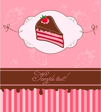 layout strawberry: Cute Pink Invitation Postcard with Strawberry Cake