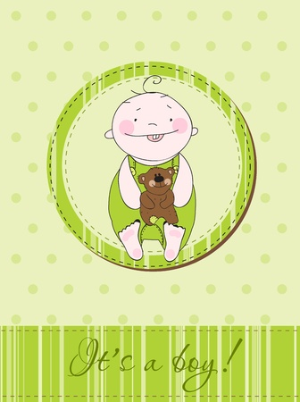 Green Baby boy arrival announcement postcard in vector Vector