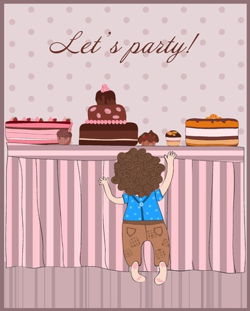 Baby Boy Lets Party Birthday Card Vector