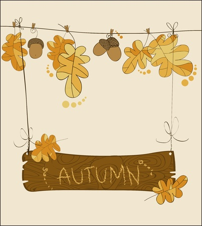 bukás: Autumn greeting card in vector with wooden sign