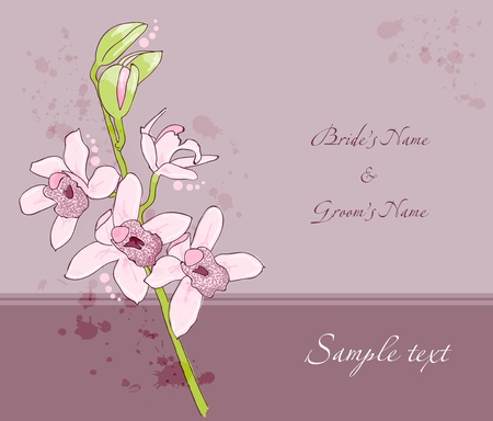 Wedding invitation template card with orchid Vector