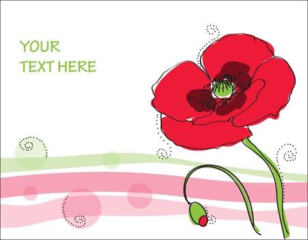 Beautiful poppy flower Card in vector Stock Vector - 9141419