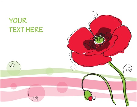 abstract flowers: Beautiful poppy flower Card in vector