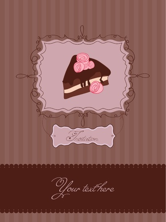 Invitation card with cake in retro style in vector Vector