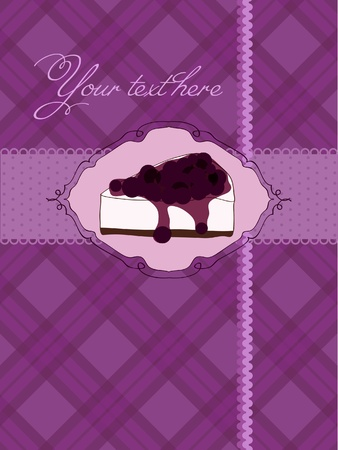 Invitation postcard with cheesecake and blackberry in vector Vector