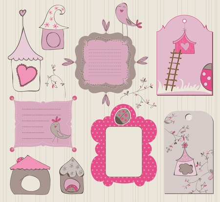 Bird House Design Elements Vector