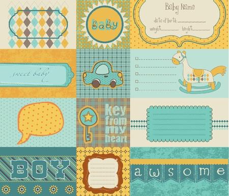 yellow adventure: Design elements for baby scrapbook in vector Illustration