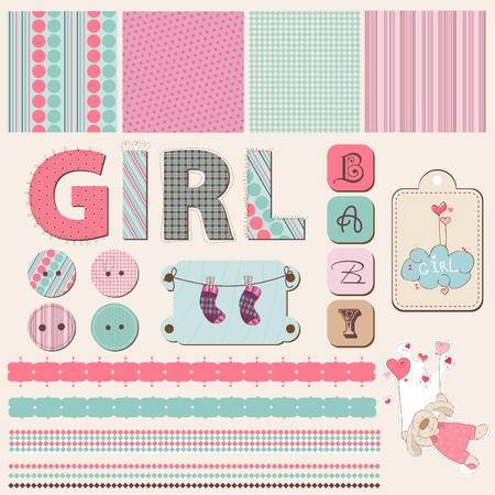 Scrapbook Baby Girl Set in vector Vector