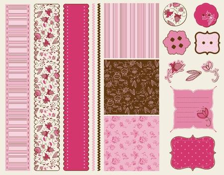 papel scrapbook: Scrapbook flor establecer en vector Vectores