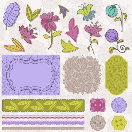Scrapbook Flower Set in vector Vector