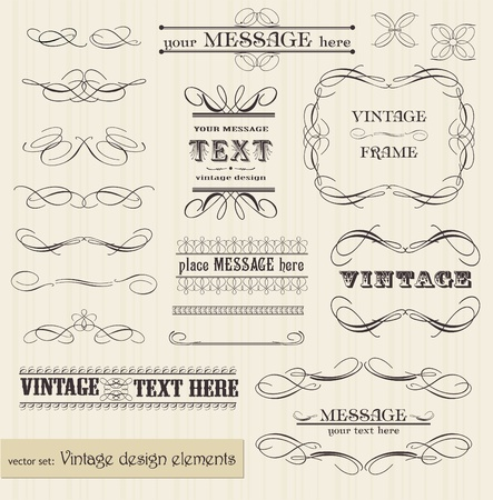 vignette: vector vintage set: calligraphic design elements and page decoration - easy to edit and use