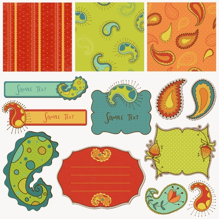 Design elements for scrapbook with paisley Stock Vector - 9253006