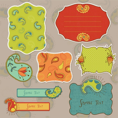 Design elements for scrapbook with paisley Stock Vector - 9253005