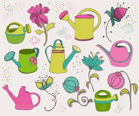 regando el jardin: Elementos de dise�o de primavera Vectores