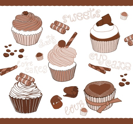 coffee berry: Set of Cute Cupcakes for design Illustration