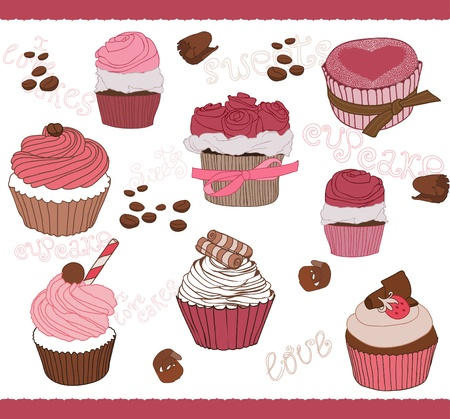 Set of Cute Cupcakes for design Stock Vector - 9252999