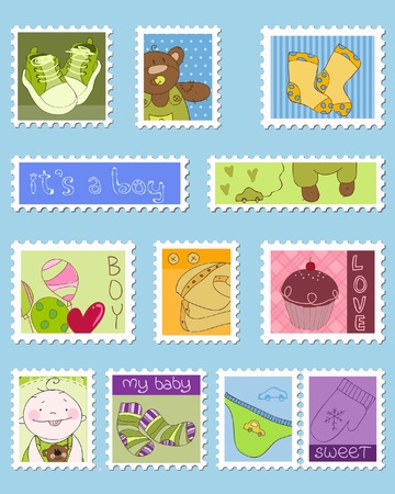 Baby Boy Postage Stamps Stock Vector - 9252977