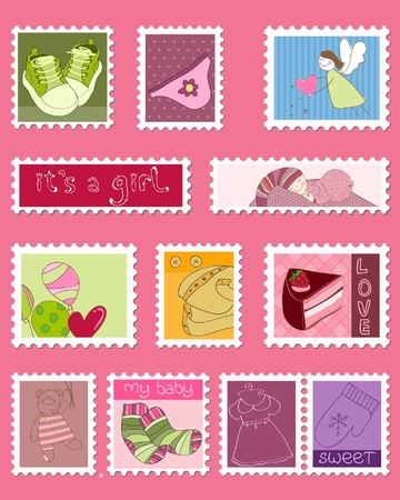 Baby Girl Postage Stamps  Stock Vector - 9252997