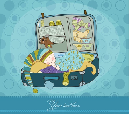 Baby Boy Sleeping in Suitcase Arrival Card Stock Vector - 9303511
