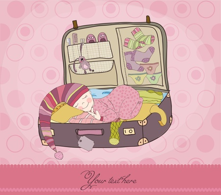 Baby Girl Sleeping in Suitcase Arrival Card Vector