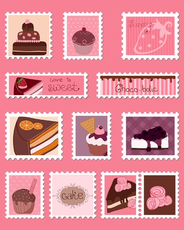 Sweet Postage Stamps vector Set Vector