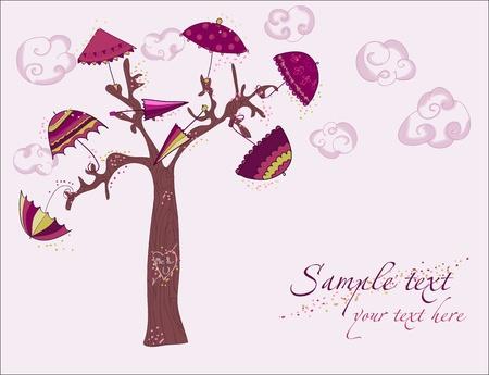fall protection: Love tree under umbrellas - vector card Illustration