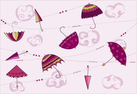 Umbrellas hanging on the rope - vector card Stock Vector - 9302644