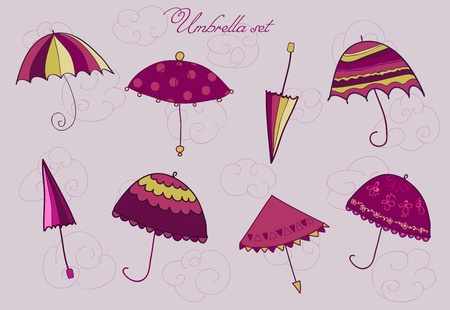 Umrella set in pink Stock Vector - 9302641
