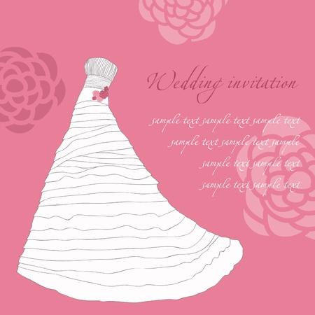 engagement party: Wedding dress invitation card Illustration