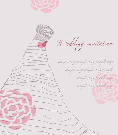 Wedding dress invitation card Stock Vector - 9302649