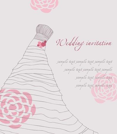Wedding dress invitation card Иллюстрация